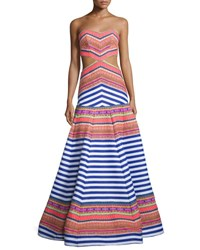 Alexis Zuzu Strapless Striped Maxi Dress Aztec Neon