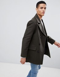 French Connection Wool Blend Double Breasted Pea Coat Green