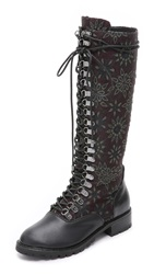Alice Olivia Terra Jacquard Lace Up Boots Plum Black