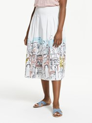 Boden Theodora Pleated Skirt Ivory Multi