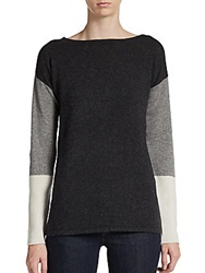Cullen Cashmere Colorblock Pullover Charcoal