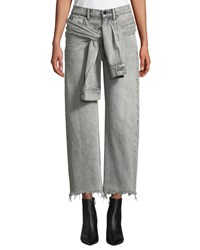 Alexander Wang Stack Tie Front Wide Leg Cropped Jeans Light Gray