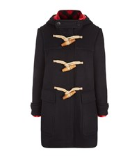 Burberry Hooded Wool Duffle Coat Female Navy