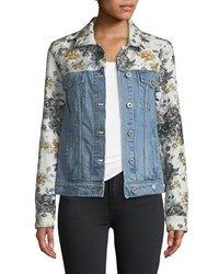 Paige Harrison Button Front Denim Jacket With Floral Embossing Blue