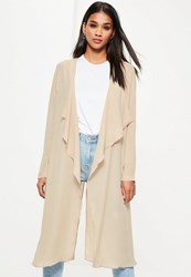 Missguided Camel Chiffon Waterfall Duster Jacket
