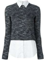 Alice Olivia Layered Melange Sweater Black