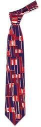 Forzieri Abstract Pattern Silk Tie Blue Ground Red
