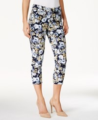 Charter Club Petite Bristol Floral Print Capri Jeans Only At Macy's Light Blue Floral Combo