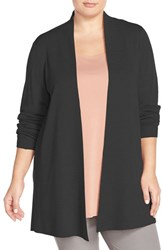 Plus Size Women's Eileen Fisher Long Straight Lightweight Merino Cardigan Black