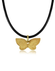 Stefano Patriarchi Golden Silver Etched Butterfly Pendant W Leather Lace