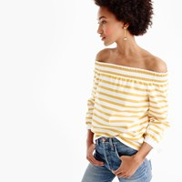 J.Crew Striped Long Sleeve Off The Shoulder Top