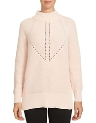 1.State Long Sleeve Mock Neck Cotton Blend Sweater Pink Balm