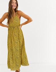 Lost Ink Cami Midi Dress In Ditsy Floral Yellow