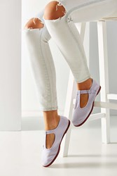 Urban Outfitters Cotton T Strap Flat Lilac