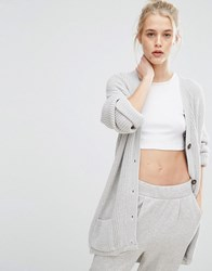Daisy Street Oversized Boyfriend Cardigan Light Grey