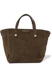 Sandro Adine Suede Tote Army Green