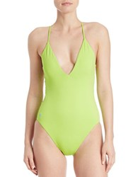 Polo Ralph Lauren Rip Tide Crossback One Piece Swimsuit Lime Green
