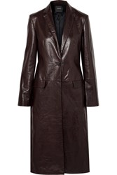Theory Textured Leather Coat Black