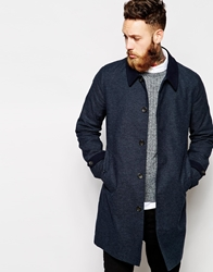 Asos Trench Coat With Contrast Collar And Cuff Navy