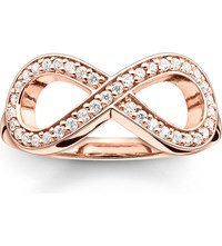 Thomas Sabo Glam And Soul Rose Gold Plated And Zirconia Pave Infinity Ring