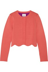 Issa Millie Scalloped Stretch Knit Jacket Orange