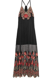 Alice Olivia Sally Embroidered Tulle Maxi Dress Black Red