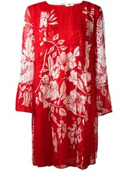 Fendi Floral Print Shift Dress Red