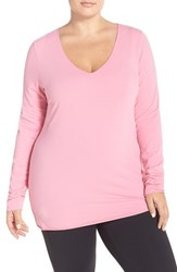 Plus Size Women's Hard Tail V Neck Long Sleeve Tee