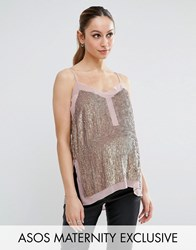 Asos Maternity Sequin Cami Top With Sheer Insert Copper