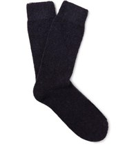 Anderson And Sheppard Wool Blend Socks Midnight Blue