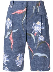 Paul Smith Floral Print Tailored Shorts Blue
