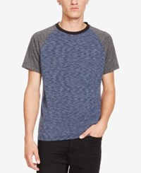 Kenneth Cole New York Men's Colorblocked Raglan T Shirt Dark Blue