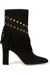 Tamara Mellon Texas Summer Embellished Suede Ankle Boots Black