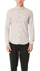 Scotch And Soda Brushed Cotton Button Down Shirt Ivory Stripe
