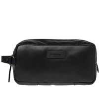 Barbour Compact Leather Washbag Black