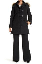 Dkny Faux Fur Hooded Toggle Parka Coat Black