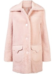 Coach Shearling Coat Pink