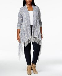 American Rag Plus Size Open Front Fringe Cardigan Only At Macy's New Indigo