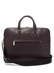 Paul Smith Textured Leather Briefcase Burgundy