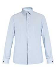 Valentino Double Cuff Oxford Cotton Shirt Blue
