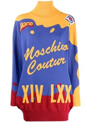 Moschino Short Intarsia Knitted Dress Blue