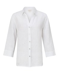 East Linen Fitted Shirt White