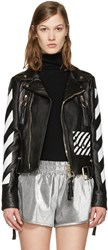 Off White Black Leather Diagonals Jacket