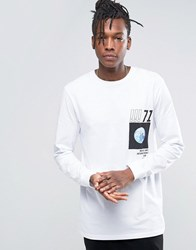 Asos Long Sleeve Longline T Shirt With Abstract Photo Print White