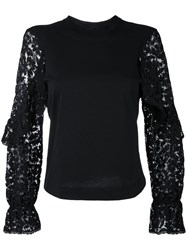 See By Chloe Lace Embroidered Blouse Women Cotton S Black