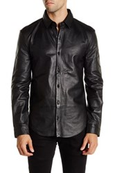 Blk Denim Leather Long Sleeve Shirt Black