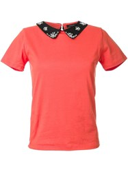 Loveless Embellished Collar T Shirt Yellow And Orange