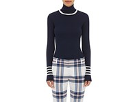 Tory Sport Women's Striped Wool Turtleneck Sweater Navy