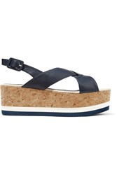Paloma Barcelo Leather Platform Sandals Blue