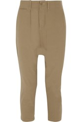 Nlst Cropped Cotton Twill Tapered Pants Taupe